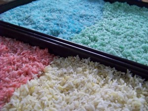Trays of drying rice